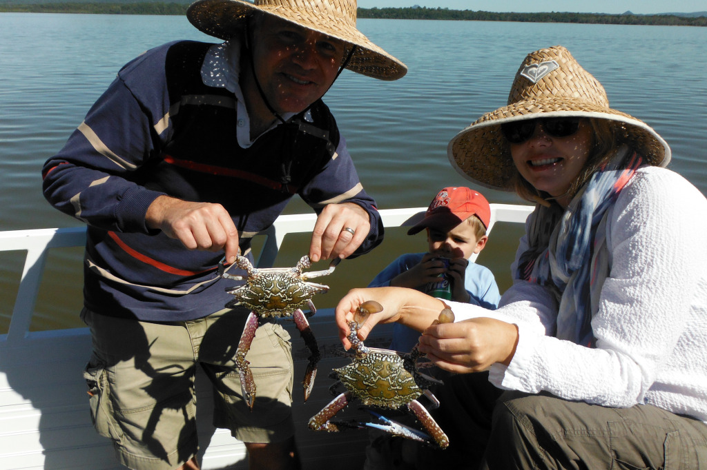 Len and Catherine from Brisbane with two nice sand crabs aboard Noosa Fishing and Crab Adventures over the weekend.