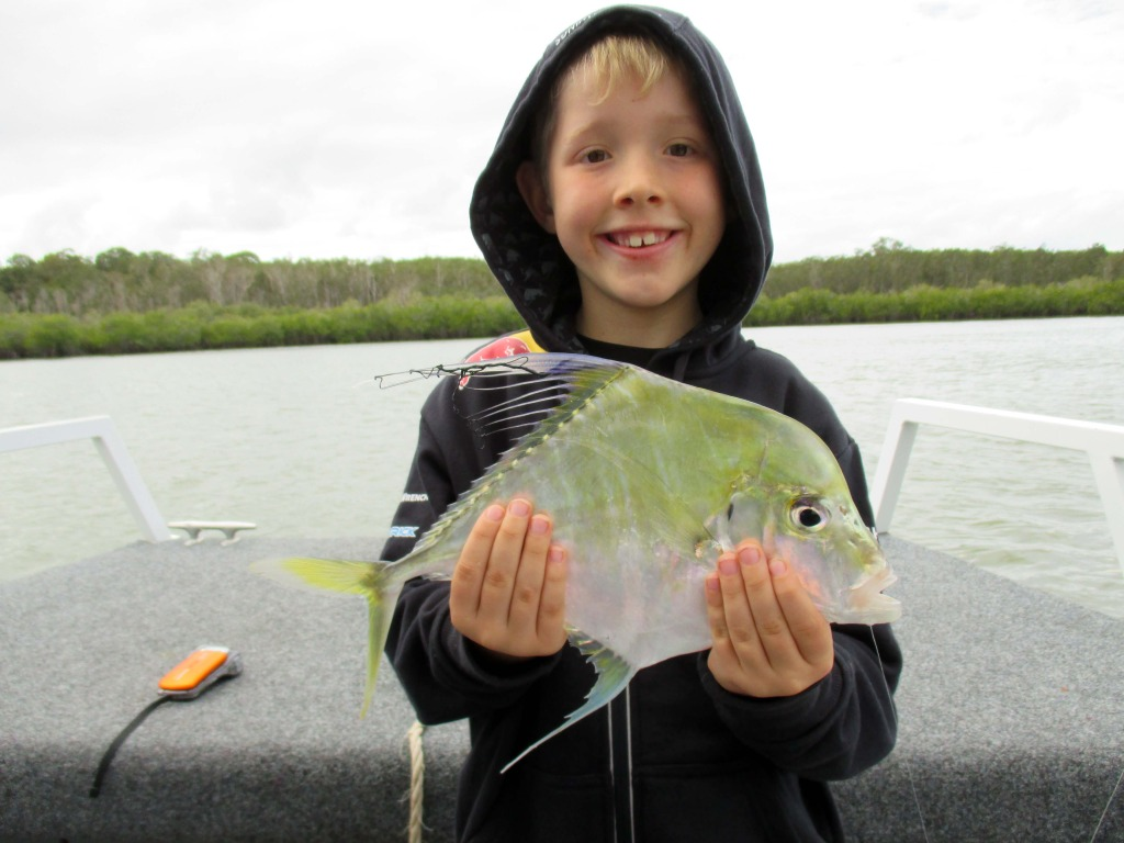 Josh from Indooroopilly caught a great 42cm Diamond Trevally up towards the entrance of Lake Cooroibah whilst aboard the Noosa Fishing and Crab Adventures.