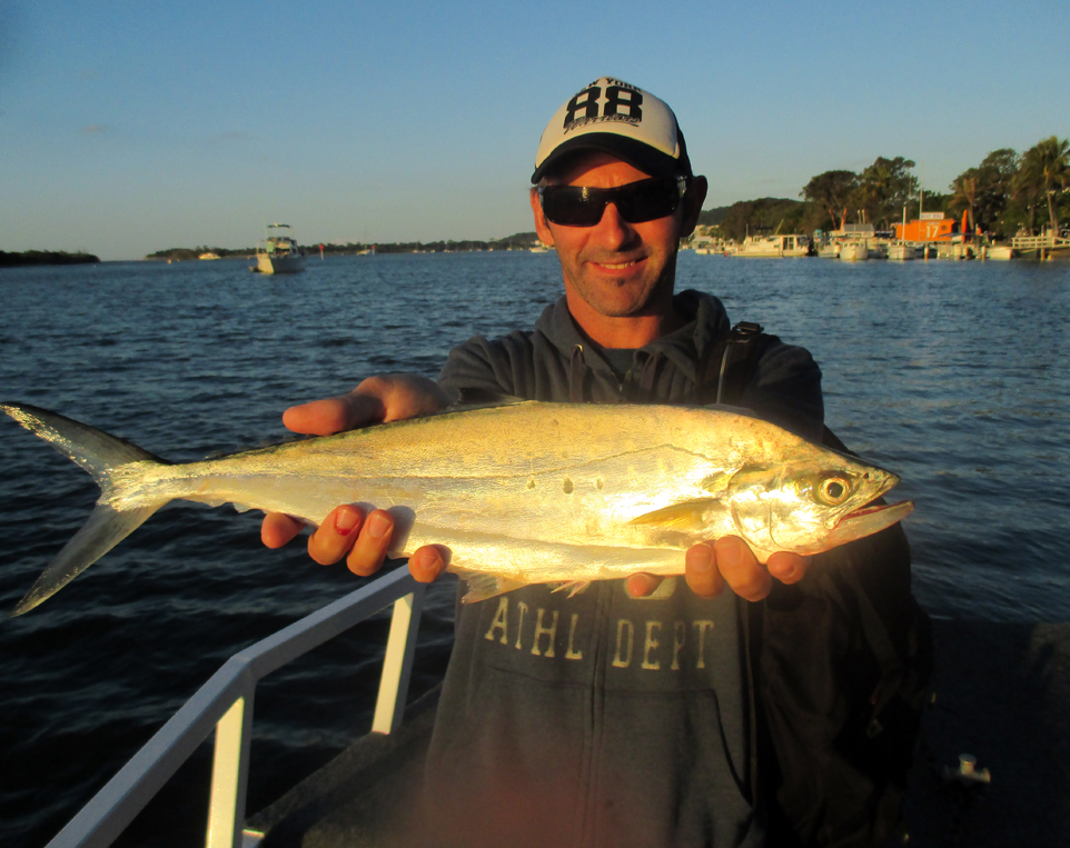 Tim from Melbourne with a ripper 66cm Queenie caught in woods bay.
