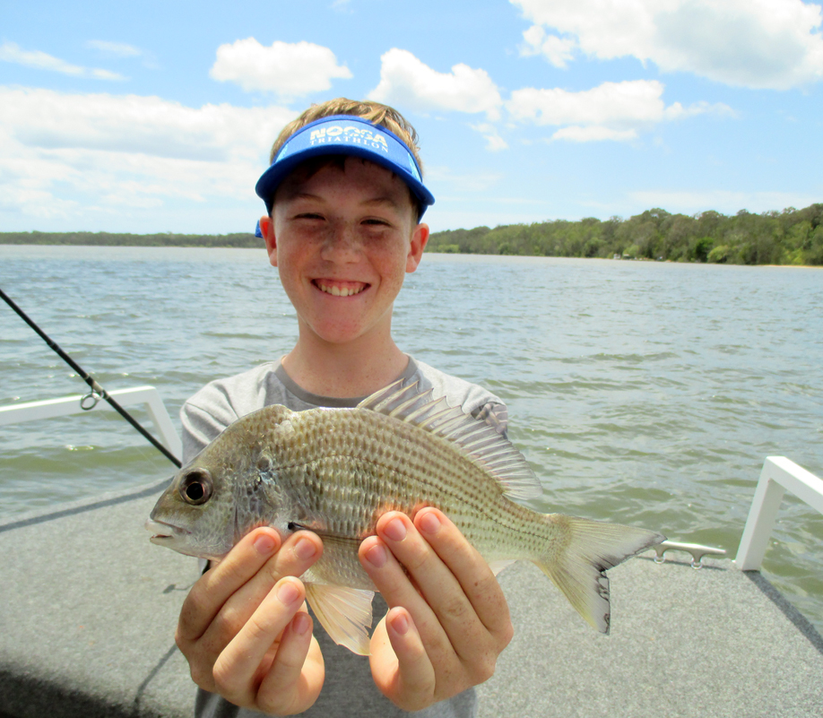 Joel from Sydney caught a nice 28cm Bream at Lake Cooriobah aboad the Noosa Fishing and Crab Adventures vessel.